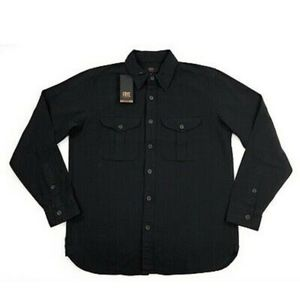 Frye Shirts - Frye Mens Ryan Military Shirt Black Long Sleeve